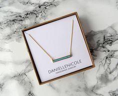 Dainty Turquoise Bar Necklace Turquoise Pendant Necklace