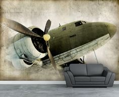 Wall mural, Vintage Retro propeller airplane wall paper, wall decal, Repositionable peel & stick wallpapers. by StyleAwall on Etsy https://www.etsy.com/listing/185476576/wall-mural-vintage-retro-propeller