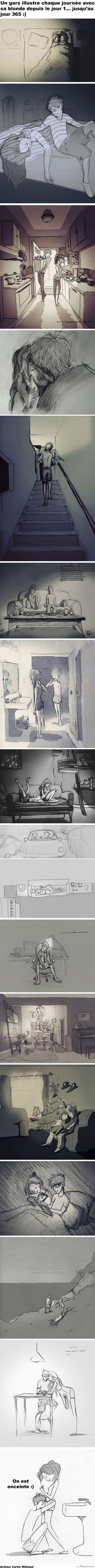 Un gars illustre sa relation amoureuse en 365 dessins depuis le jour 1... et c'est simplement parfait :)