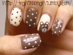 so sweet, teddy bear nail art :)