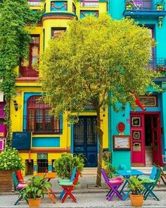 mexican house colors Balat-Estambul How To Buy A Good Sofa Your sofa seats your guests when you do s Turkey Photos, Colourful Buildings, Colorful Houses, Belle Photo, House Colors, Beautiful Places, Scenery, Around The Worlds, Doors