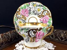 Rosina Floral Teacup and Saucer, Art Deco Gold Banded Tea Cup Made in England J-1773