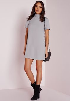 Missguided - High Neck Short Sleeve Shift Dress Grey