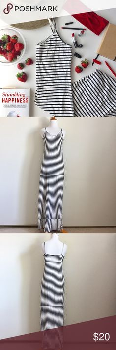 American Apparel White/Black Striped Maxi Dress American Apparel White/Black Striped Maxi Dress. Size M. Cami top. 100% Combed cotton. Gently worn. Smoke-free home. No rips, holes, or stains. American Apparel Dresses Maxi
