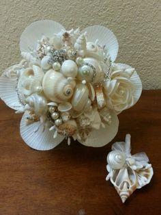 Sea-Shell-Bridal-bouquet-boutonniere