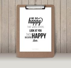 A4 Typographic print Quote print Be so happy by LittleMars