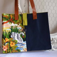 Needlepoint vintage swans tapestry tote bag by FrenchDecoChic, €36.00