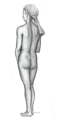 "Jeffrey Wiener  ""Standing Female Nude, Posterior""(Pencil on paper, 12"" x 9"")"