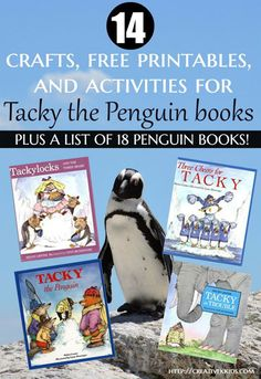 14 crafts, free printables, and activites you can use to go along with Tacky the Penguin books or a penguin themed day. Plus there is a list of 18 books about penguins!
