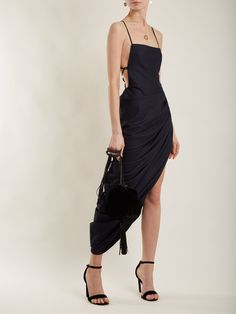 Click here to buy Jacquemus Square-neck backless draped wool dress at MATCHESFASHION.COM