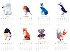 2014 Calendar, New Zealand Birds, Geometric illustration, Bird and animal prints, Original illustrations