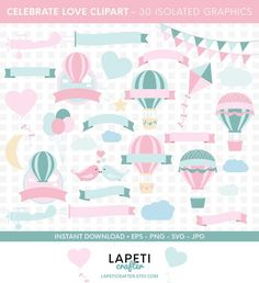 Visit my Etsy shop for more cliparts #lapeticrafter #hotairballoon #valentinesday #loveclipart #instantdownload #etsyshop Hot Air Balloon Clipart, Baby Shower Clipart, Create Invitations, Vinyl Cutting, Balloons, Card Making, Logo Design, Paper Crafts, Clip Art