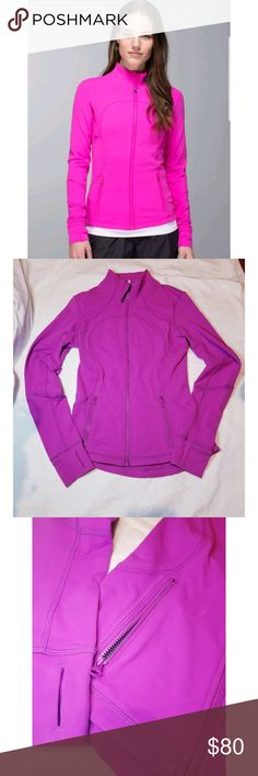 Lululemon Athletica Pink Forme Jacket sz 4 Lululemon Athletica Pink Forme Jacket sz 4  Pink Lulu Yoga or Track Jacket Size 4 Used, but almost new.  My camera is a little off with the color, but this is pink. Awesome addition to your Lulu collection. Very soft and has hidden thumb holes in the sleeve (shown above) Definitely almost new condition. Get it before its gone! lululemon athletica Jackets & Coats
