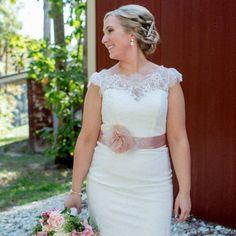 Blush Bridal Sash with Rhinestone Applique by AmyAnneBridal