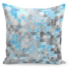 Sivá dekoračná návliečka na vankúše s modrým motívom Small Cushions, Blue Cushions, Decorative Cushions, Grey Cushion Covers, Miss You Gifts, Geometric Cushions, Classic Living Room, Contemporary Classic, Gold Marble