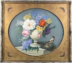 Gorgeous Flemish school Oil canvas painting birds oval framed 1970's flowers Oval Frame, 1970s, Decorative Plates, Birds, Oil, Canvas, School, Flowers, Painting