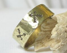 Rustic Arrow Ring Brass Hammered Band Ring by EagleRowe on Etsy, $19.50