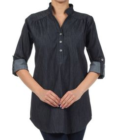 Loving this Blue Chambray Mock Neck Tunic by L&B on #zulily, $35 !!   #zulilyfinds