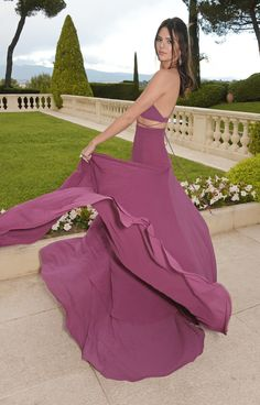 * [Twirl gif] Kendall Jenner twirling in purple Calvin Klein Collection gown with Chopard jewels at the 2015 amfAR 22nd Cinema Against AIDS Gala in Cannes
