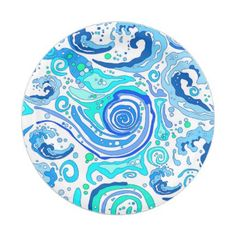 Blue and Emerald Water Swirls and Waves Paper Plate - ocean side nature waves freedom design