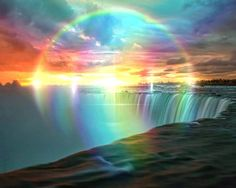 Rainbow God Of My in my Rainbow World of My from Rainbow Naru. Rainbow God Blessings, Peacefulness & Happiness all Filled with my Heart. Rainbow Waterfall, Rainbow Sky, Love Rainbow, Circle Rainbow, Rainbow Falls, Beautiful Sky, Beautiful World, Beautiful Landscapes, Beautiful Places