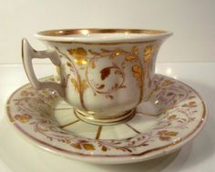 Porcelain cup and saucer set by Adolf Schumann, Berlin, Germany 1844