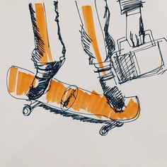 Being a practical man, time and freedom meant a lot to Ross. For example, he hated being stuck in traffic so he'd rather skateboard down the streets. He worked #man #illustration #sketch #ink #drawing #copicmarker