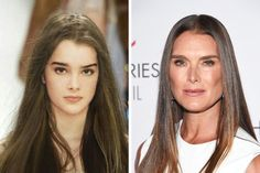 Brooke Shields then and now Celebrities Then And Now, Famous Celebrities, Celebs, First Ladies, Brooke Shields Now, Brooke Shields Blue Lagoon, Celebrity Plastic Surgery, Bionic Woman, Young Old