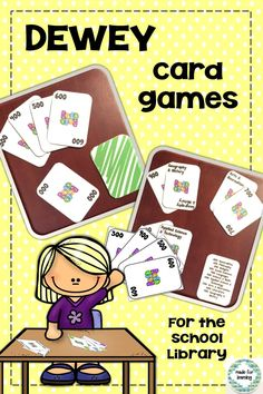 How about including some easy card games in your learning centers in your school library media center? School Library Lessons, Library Lesson Plans, Middle School Libraries, Elementary School Library, Library Skills, Library Games, Library Science, Library Activities, Library Books