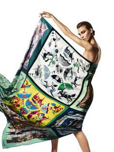 Karlie Kloss wrapped in an amazing Hermes scarf for Harper's Bazaar Spain, April 2013.  #hermes #harpersbazaar