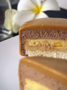 Entremet- Chocolate Mousse, Mango Vanilla Cream, Caramel Crémeux, Lime, Almond Sponge
