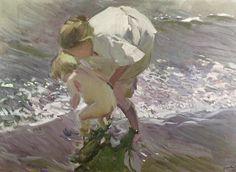 poboh:  Bathing on the Beach, 1908, Joaquin Sorolla y Bastida. Spanish (1863 - 1923)