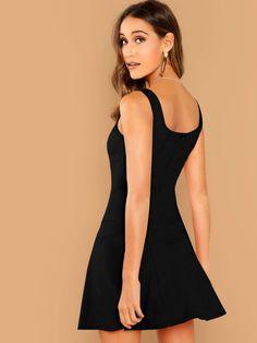 SHEIN Solid Skater Tank Dress - L / Burgundy