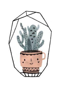 Teken-Ing kaart | Cactus kopje blauw