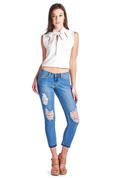 Parkers Jeans - D5333 - Light Stone  #frayed #denim #ankle #skinny #distressed #ripped #jeans #frayedhem #midrise #lookbook #parkersjeans