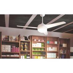 Ventilador de Techo con Luz y mando - FAN 69 Ceiling Fan, Bookcase, Shelves, Home Decor, Silent E, White Colors, Lights, House Decorations, Distance