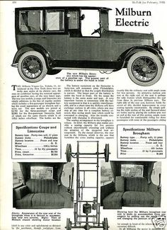 Milburn Electric Limousine and Brougham images, description and article in Motor, Feb. 1918