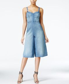 Do double denim with just one piece. The GUESS jean jumpsuit features a trendy culotte pant. Your new go-to for a rooftop party, this suit pairs perfectly with fun, metallic wedges.