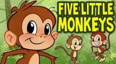 """""""Five Little Monkeys"""" with printable lyrics. This is a very popular nursery rhyme enjoyed by children throughout the world. This is an adorable animated version of this classic favorite kid's nursery rhyme song and fingerplay.   Also, teaches math, number recognition, listening skills and following directions. This children's action song is perfect for toddlers, preschool and kindergarten."""