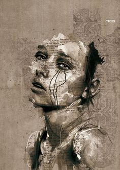 Mixed Media Illustration, watercolor, ink and collage by French artist Florian Nicolle.
