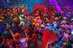 India, for a Holi festival (I remember seeing this on an Amazing Race and thinking it was the most beautiful thing!)