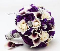 Bridal Bouquet Callas Purple Lavender Ivory Roses Rhinestones Hydrangea Grooms Boutonniere