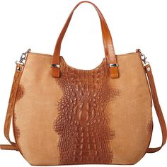 Sharo Leather Alligator Textured Italian Made Leather Tote and... ($162) ❤ liked on Polyvore featuring bags, handbags, tote bags, orange, orange tote bag, orange leather tote bag, leather satchel tote, leather handbag tote and leather purses