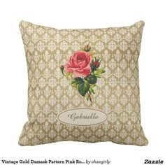 Vintage Gold Damask Pattern Pink Rose and Name