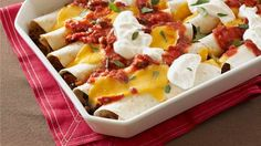 Make our tasty Fiesta Chicken Enchiladas if you're looking for an easy chicken enchilada recipe to try. Get fiesta-ready with Fiesta Chicken Enchiladas! Black Bean Enchiladas, Creamy Chicken Enchiladas, Beef Enchiladas, Kraft Recipes, Ww Recipes, Mexican Food Recipes, Cooking Recipes, Mexican Dishes, Recipies