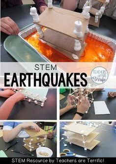 STEM Challenge: Build a building that can withstand being shaken in order to survive an earthquake! Earth Science Activities, Earth And Space Science, Stem Science, Science For Kids, Stem Activities, Science Education, Earth Science Experiments, Teamwork Activities, Science Labs