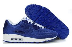 New Styles of Mens Nike Air Max 90 Sneakers Deep Blue/White