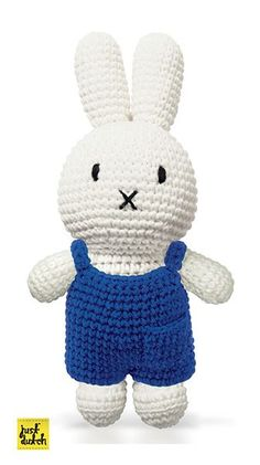 Crochet cotton Miffy off-white Miffy with blue overalls. Buy this Miffy handmade crochet online today. Crochet Bunny, Diy Crochet, Crochet Crafts, Crochet Toys, Sewing Crafts, Knit World, Baby Staff, Miffy, Knitted Animals