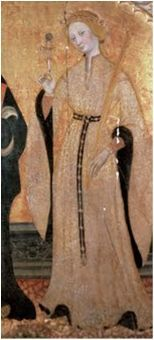 Santa Eulalia, Pedro Serra, ff. XIV, Museo Diocesano de Segorbe Spanish Houppelande (Hopalanda) 14th c