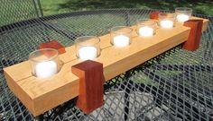 Modern Centerpiece - Red Oak base with Paduk legs Modern Centerpieces, Glass Tea Light Holders, Scrap Wood Projects, Wood Gifts, Red Oak, Tea Lights, Charity, Base, Candles